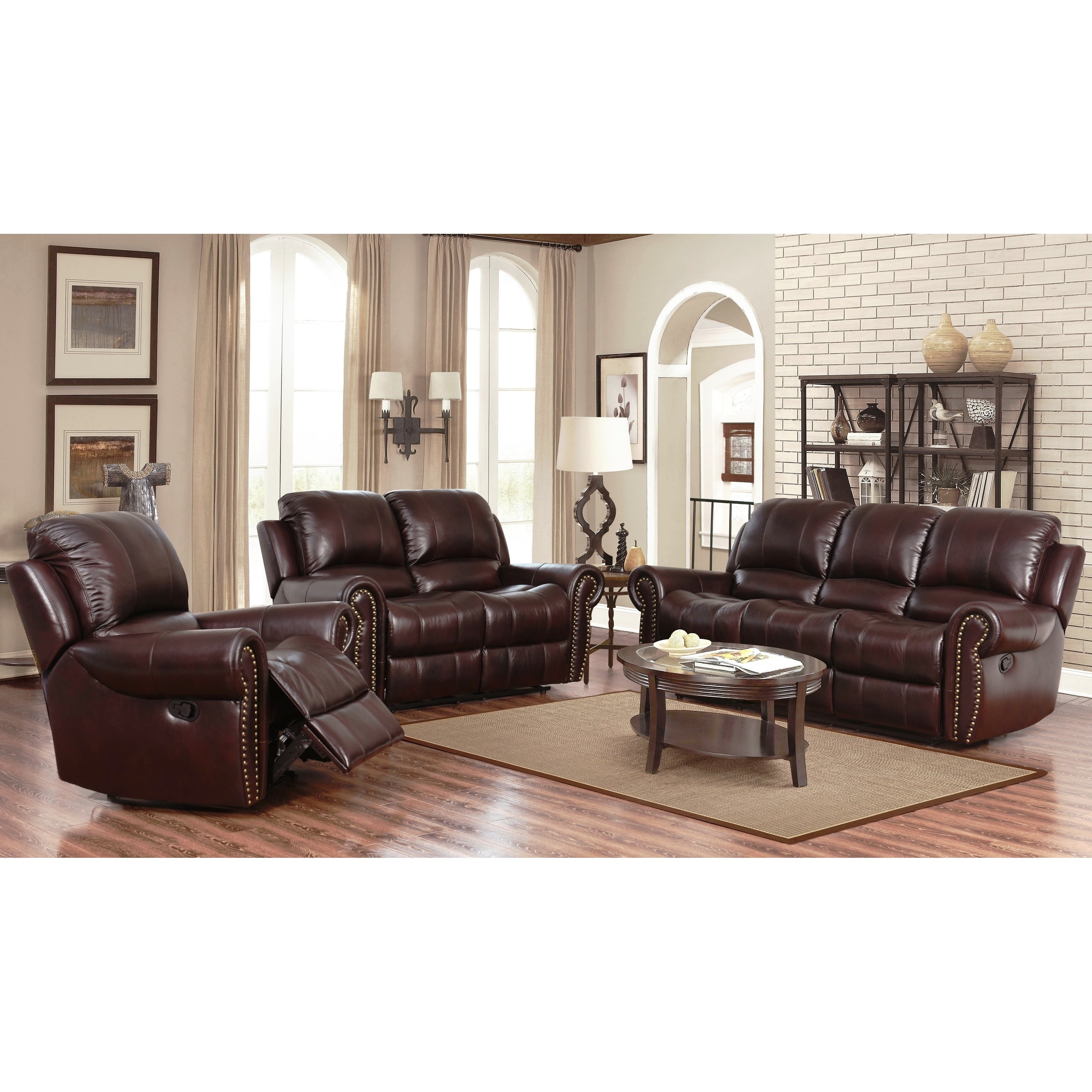 Shop Abson Broadway Top Grain Leather Reclining 3 Piece Living throughout 11 Genius Tricks of How to Build 3 Piece Leather Living Room Set