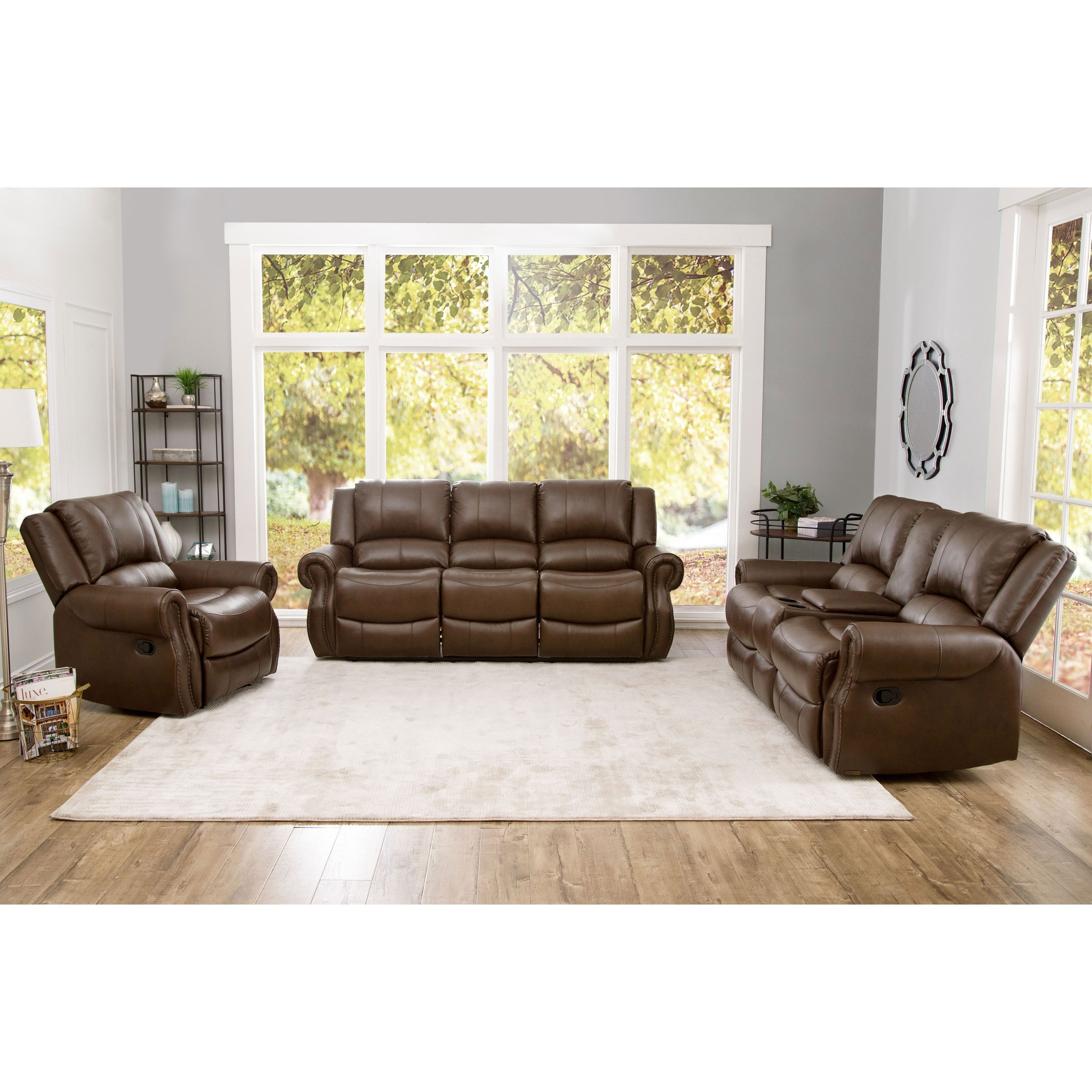 Shop Abson Calabasas Mesa Brown Leather 3 Piece Reclining Living intended for 3 Piece Leather Living Room Set