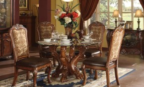 Acme Dresden 5 Pc Round Dining Table Set In Cherry Dining Rooms with Elegant Living Room Set