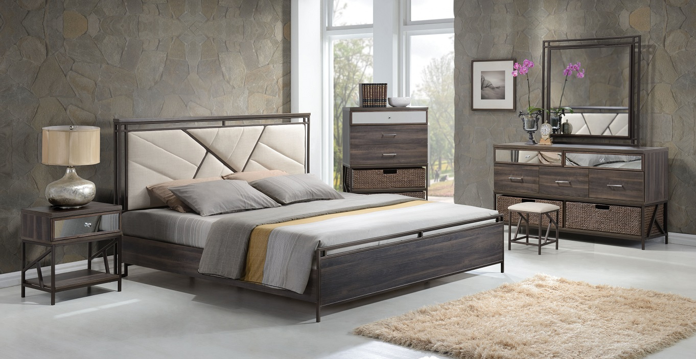 Adrianna 20950 Walnut Finish Cream Fabric Bedroom Set Contemporary for Modern Bedroom Sets