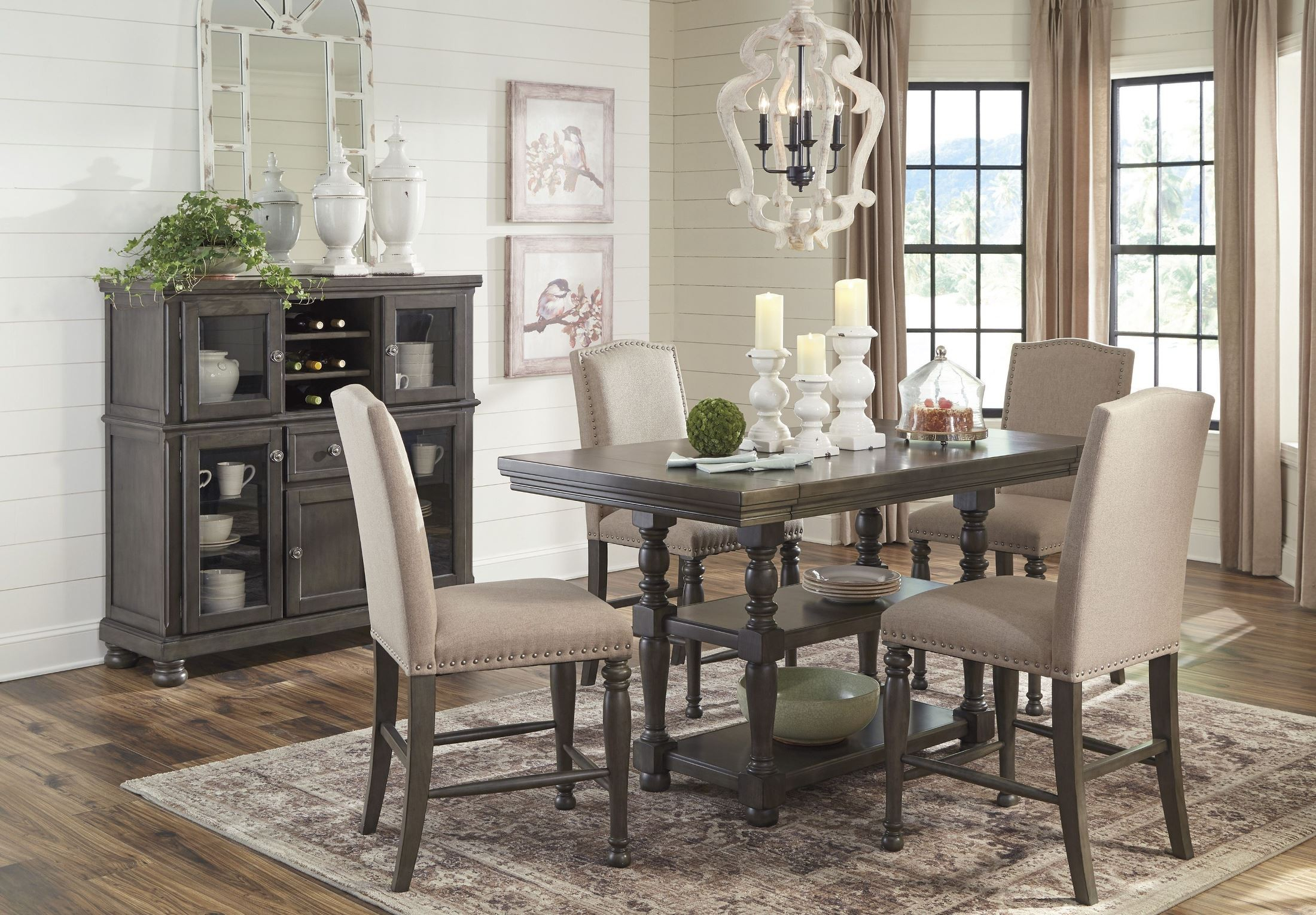 Audberry Gray Rectangular Extendable Counter Height Dining Room Set throughout Living Room And Dining Room Sets
