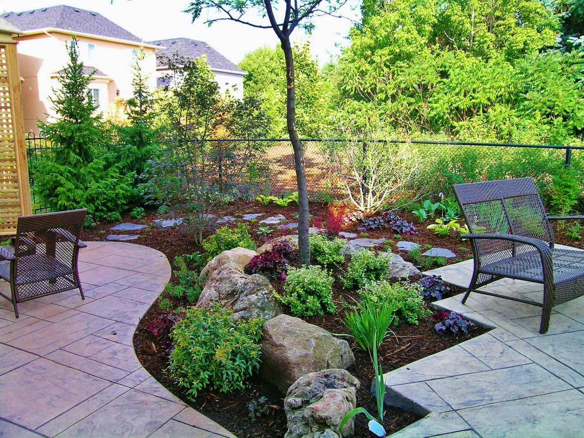 Backyard Landscaping Design For D Garden Patio Ideas Plans Back Yard with regard to Landscaping Small Backyards Townhouse