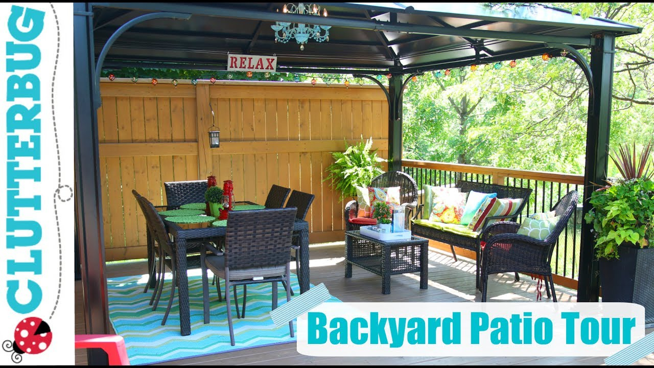 Backyard Patio Decorating Ideas Tips And Tour Youtube intended for Backyard Decorations
