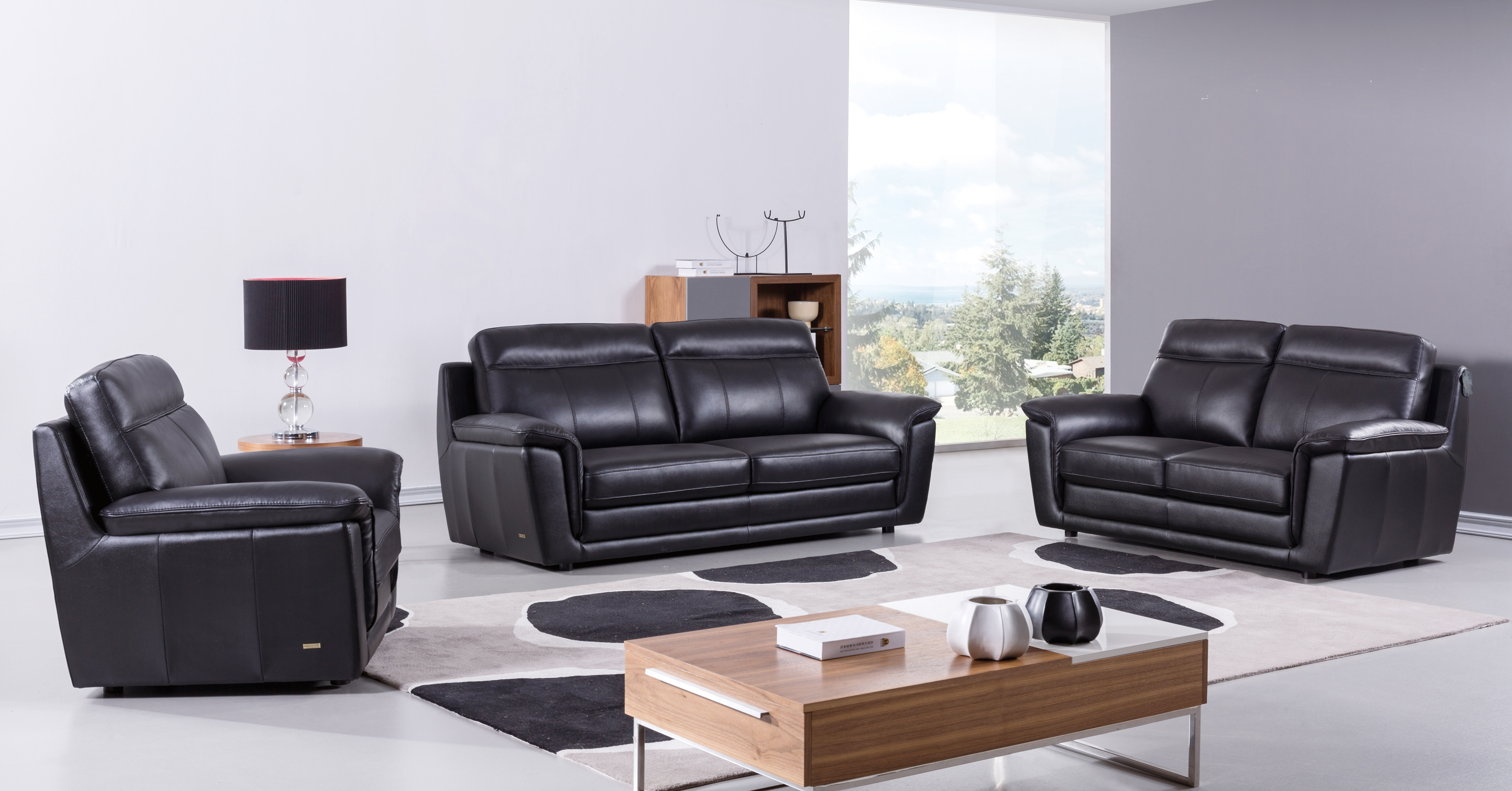 Black Contemporary Living Room Set Finest Genuine Italian Leather intended for Italian Leather Living Room Sets