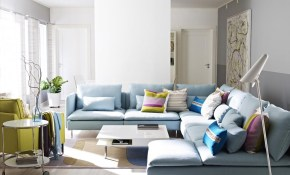 Contemporary Living Room With Sky Blue L Shaped Sectional Sofa within 15 Some of the Coolest Ideas How to Make Living Room Sets Ikea