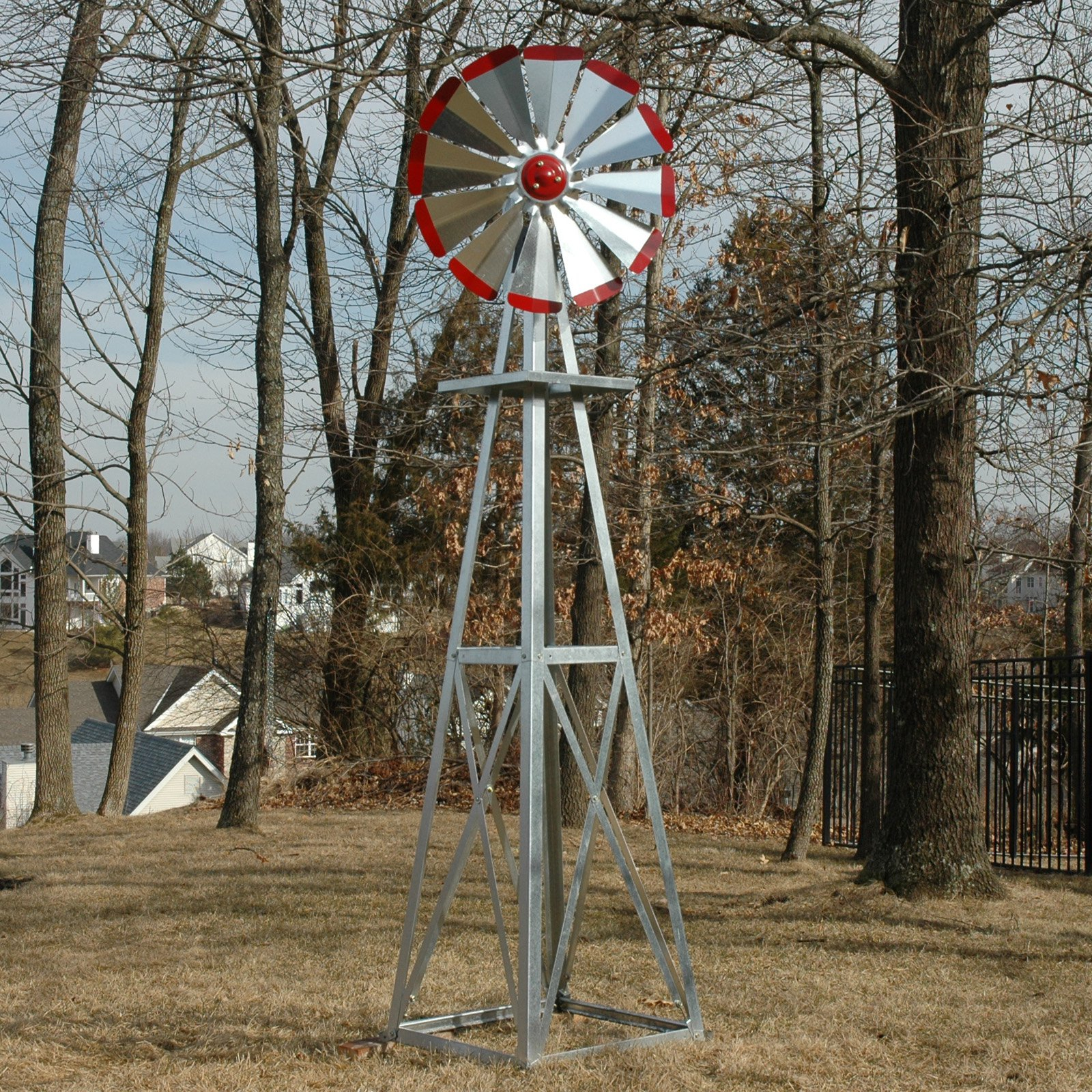 Decorative 8 Ft Galvanized Windmill Red Tips Walmart within Decorative Backyard Windmill