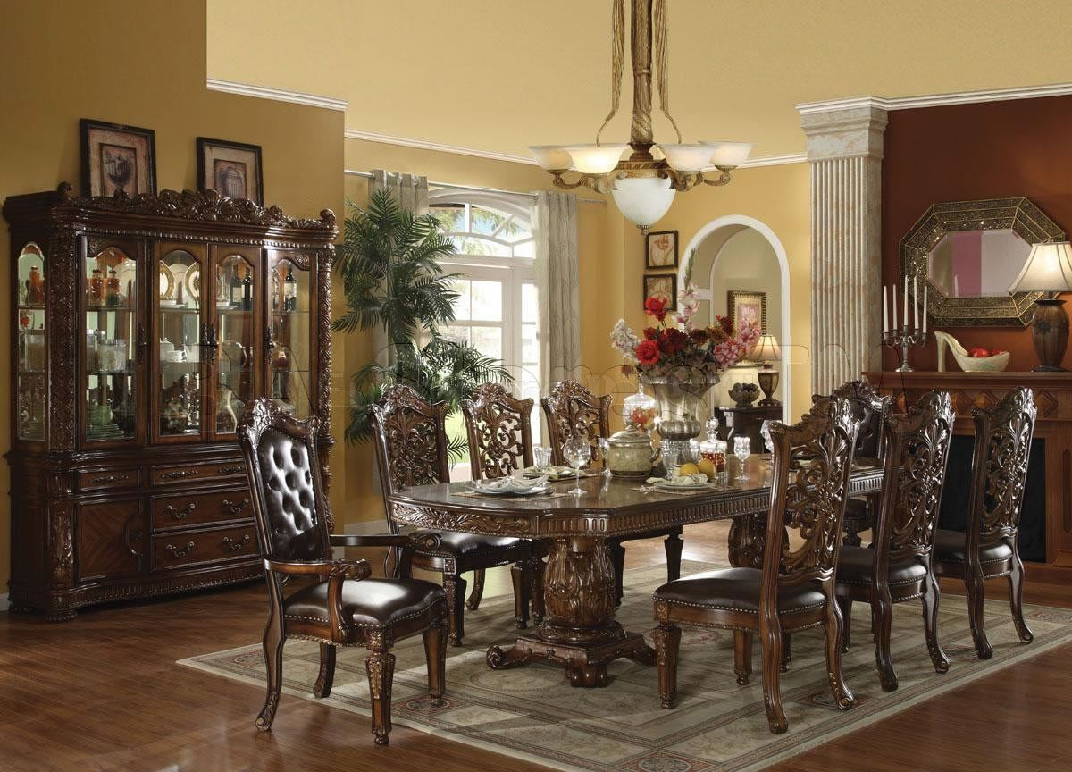 Elegant Formal Dining Room Furniture Dark Cherry Finish Vendome pertaining to 13 Awesome Tricks of How to Makeover Elegant Living Room Set