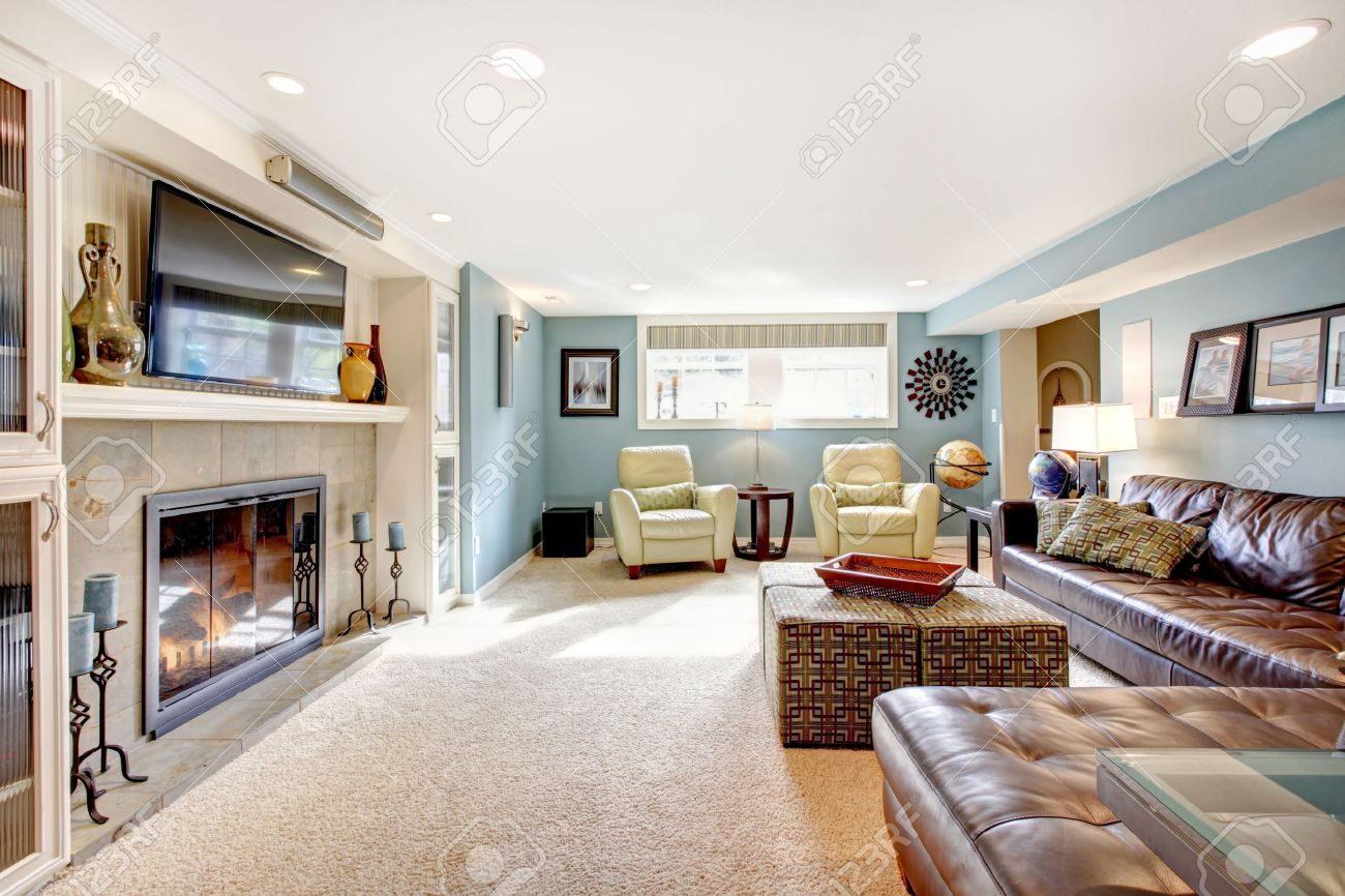 Light Blue Living Room With Leather Furniture Set Beige Carpet within Living Room Set With Free TV