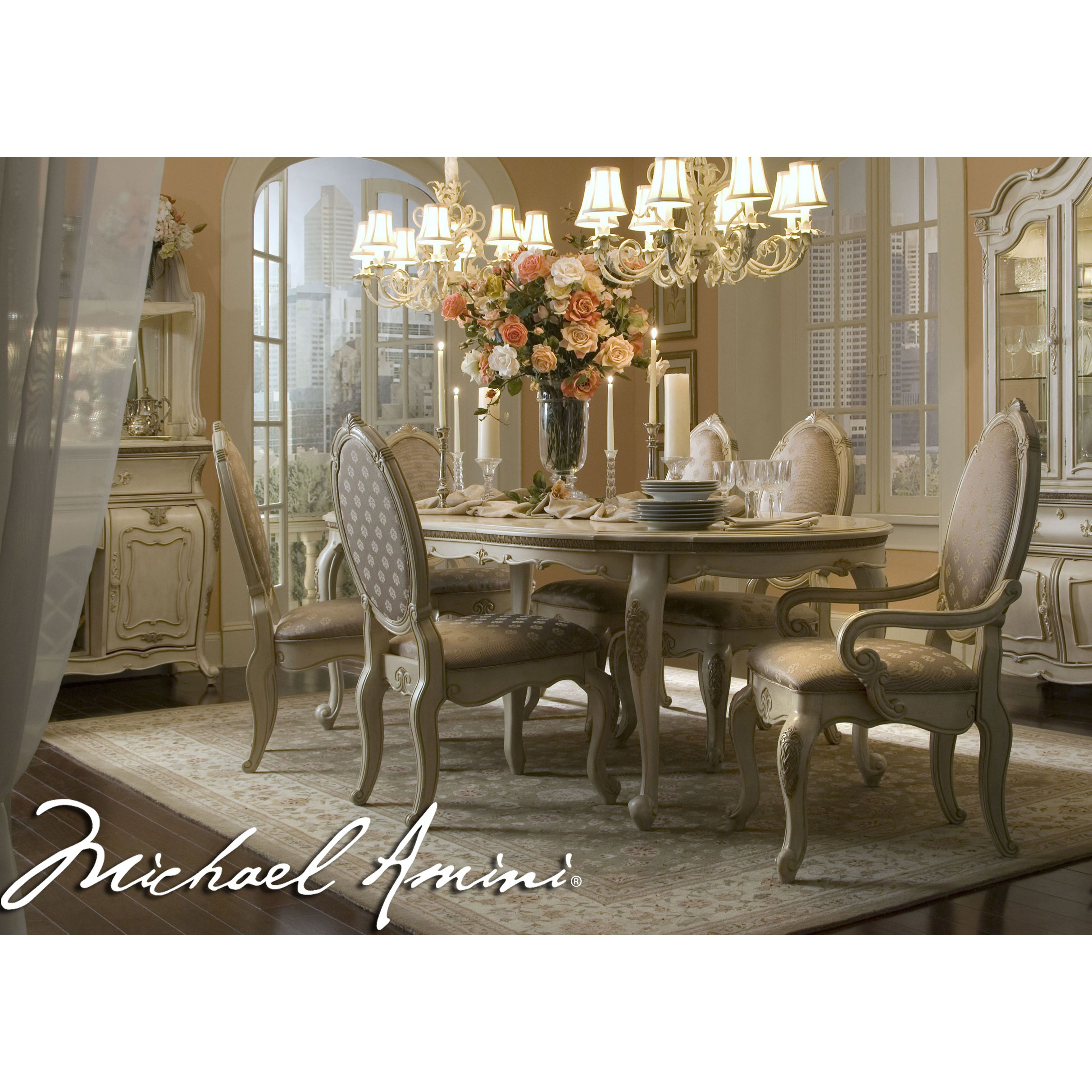 Michael Amini 7pc Lavelle Blanc Oval Dining Table Set Aico For pertaining to 10 Clever Concepts of How to Upgrade Living Room And Dining Room Sets