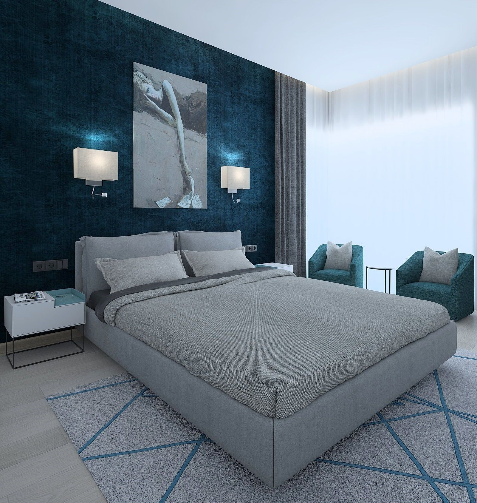Modern Bedroom With Green Wallpaper 3d Cgtrader throughout 14 Some of the Coolest Initiatives of How to Makeover Modern Bedroom Wallpaper