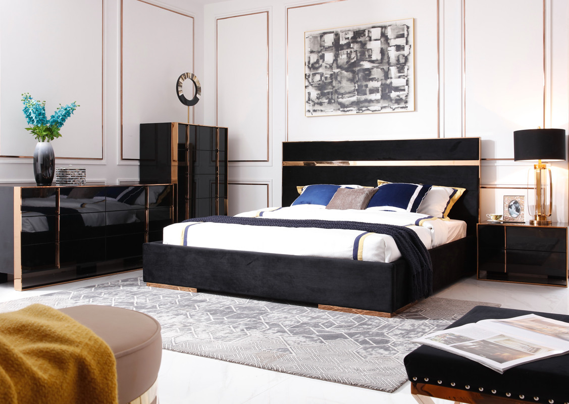 Nova Domus Cartier Modern Black Rosegold Bedroom Set pertaining to Modern Bedroom Sets