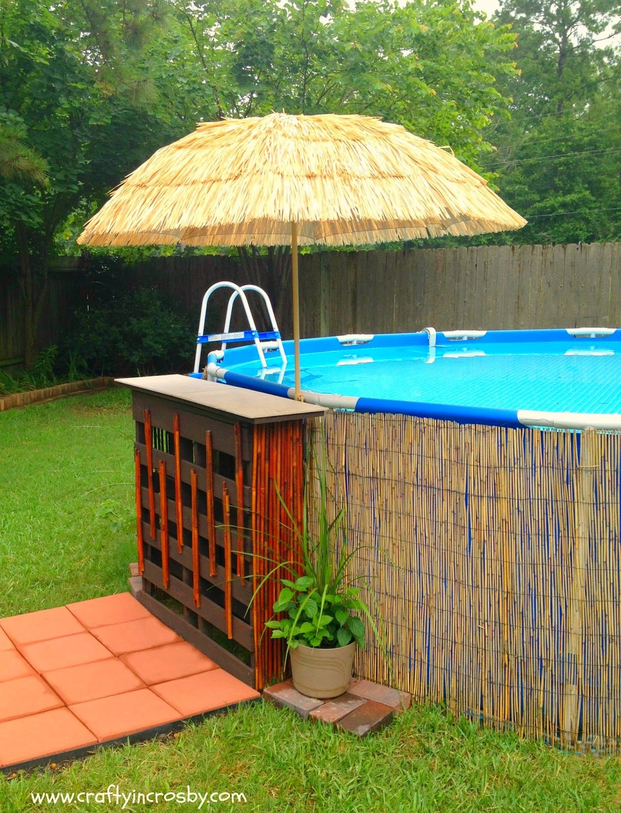 Pallet Bar Above Ground Pool Decor Above Ground Pool Poolside Bar within Backyard Pool Decor