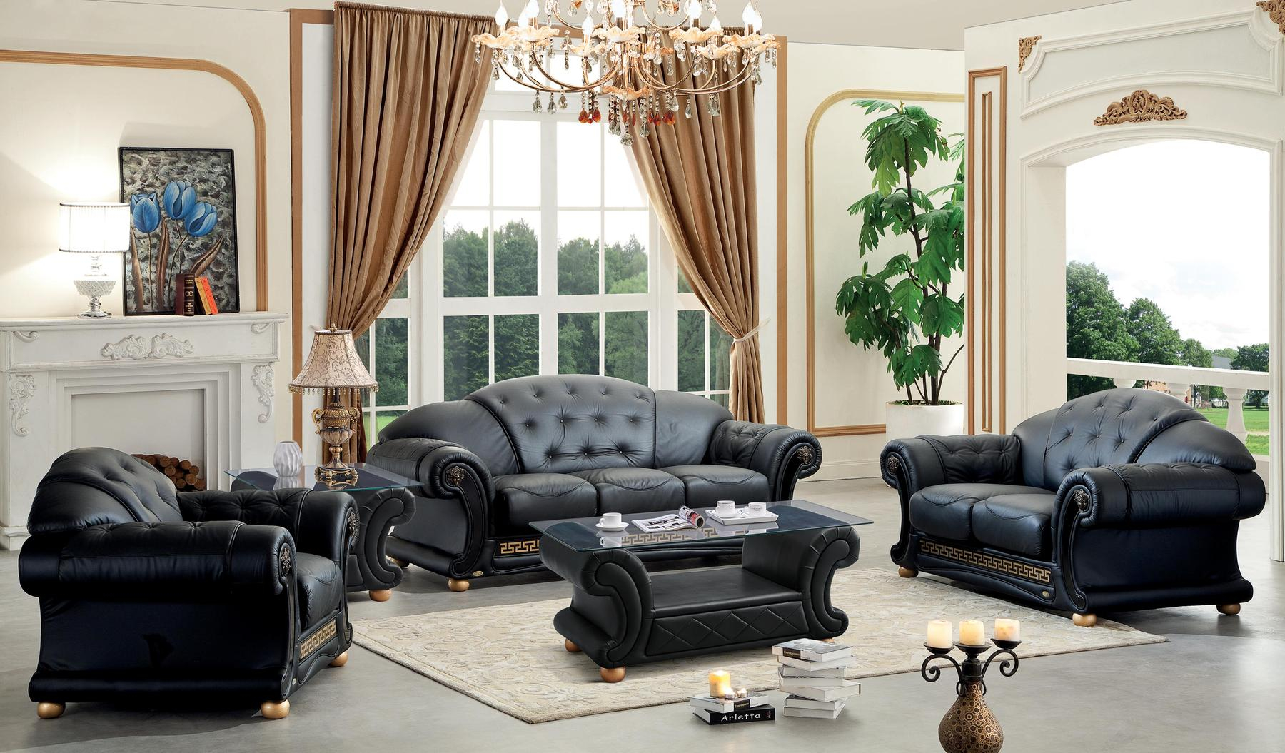 Versace Black Sofa Versace Esf Furniture Leather Sofas Comfyco with regard to Black Leather Living Room Sets