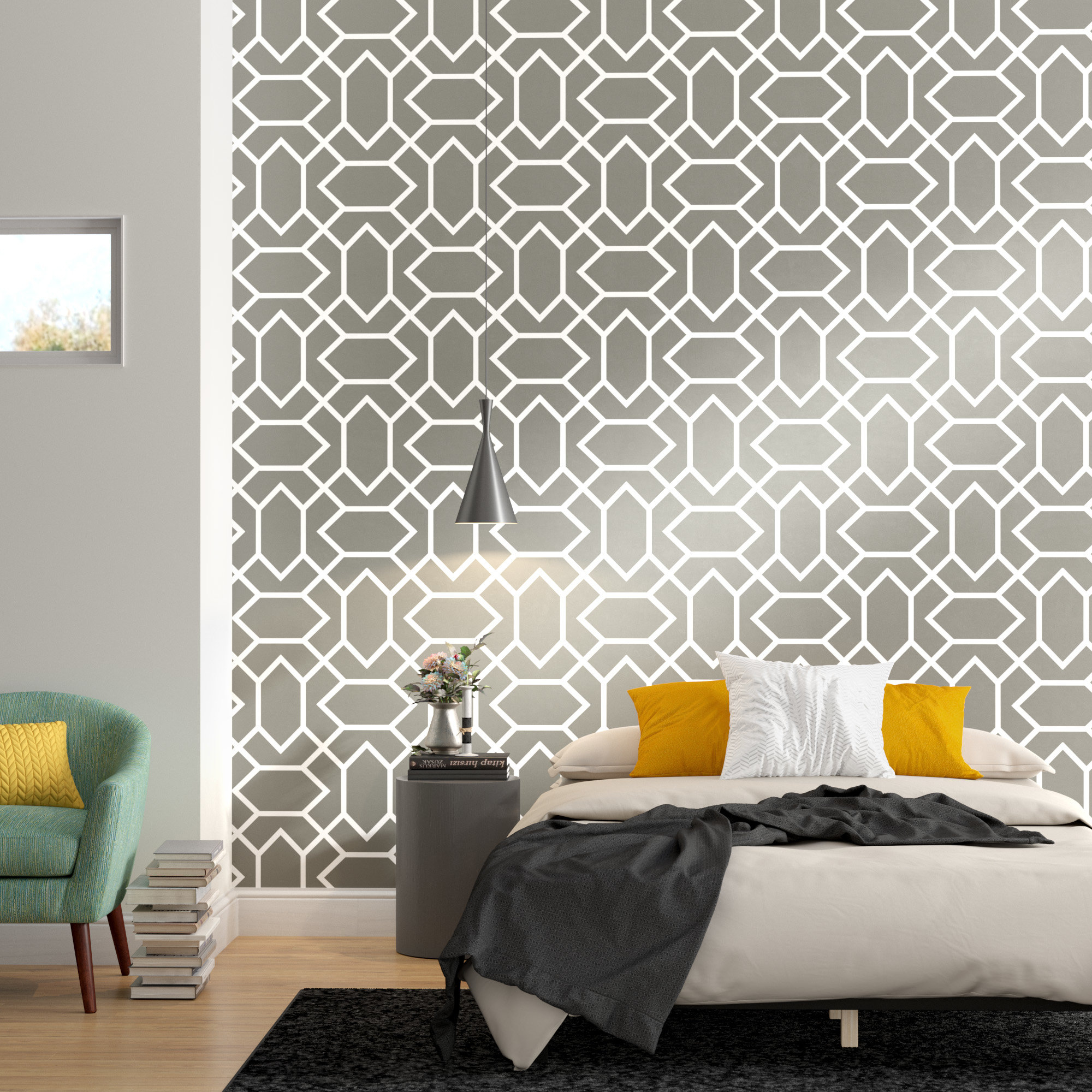 Wrought Studio Runkle Modern 165 L X 205 W Geometric Peel And with regard to Modern Bedroom Wallpaper
