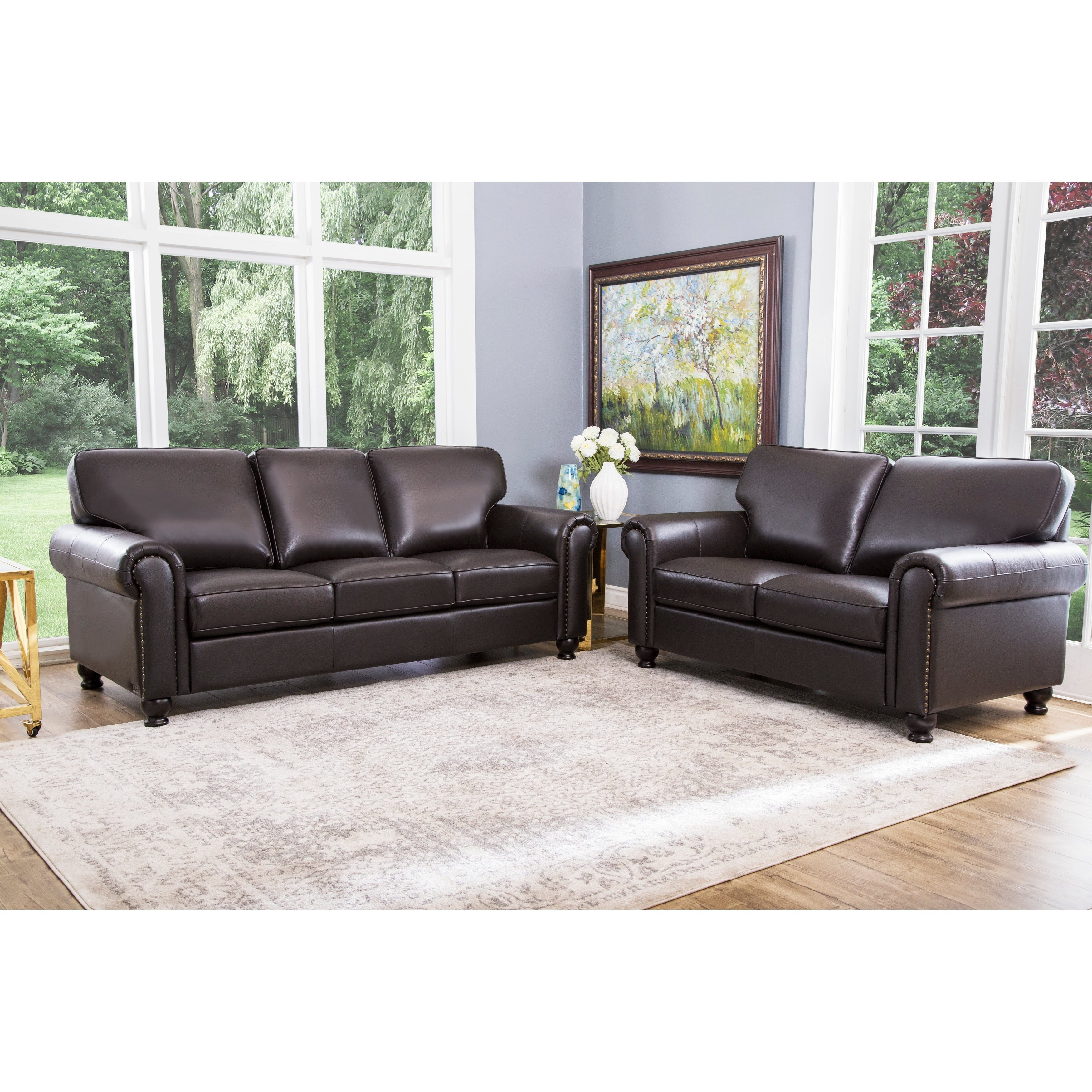 Abson London Brown Top Grain Leather 2 Piece Living Room Set for Best Living Room Set