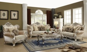 Acme Bently 3pc Livingroom Set Champagne intended for Traditional Living Room Sets