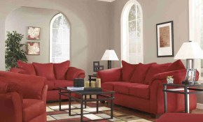 Ashley Furniture Darcy Living Room Set In Salsa intended for Red Living Room Sets