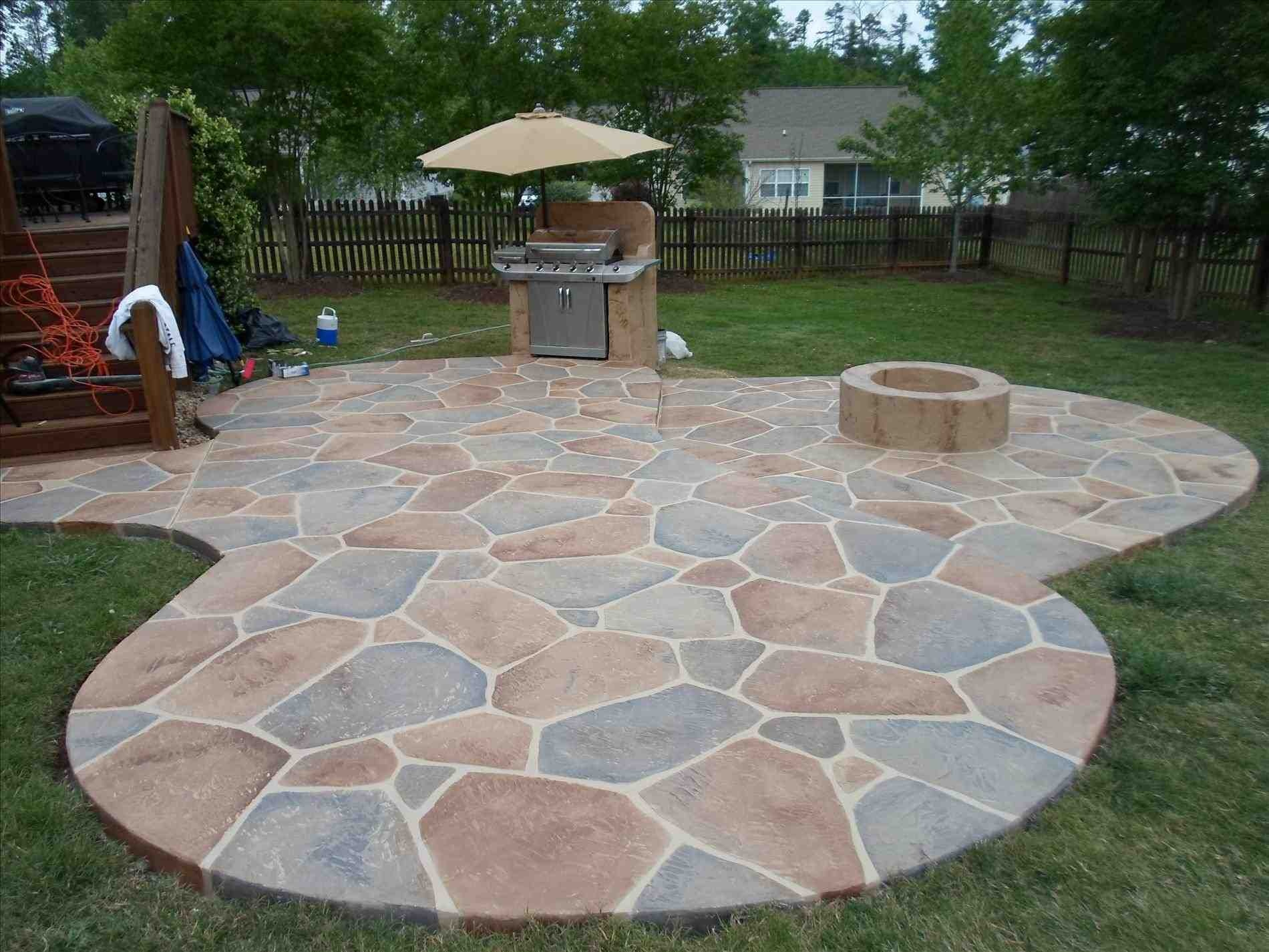Backyard Stamped Concrete Patio Ideas On A Budget Design Idea And within Backyard Concrete Ideas