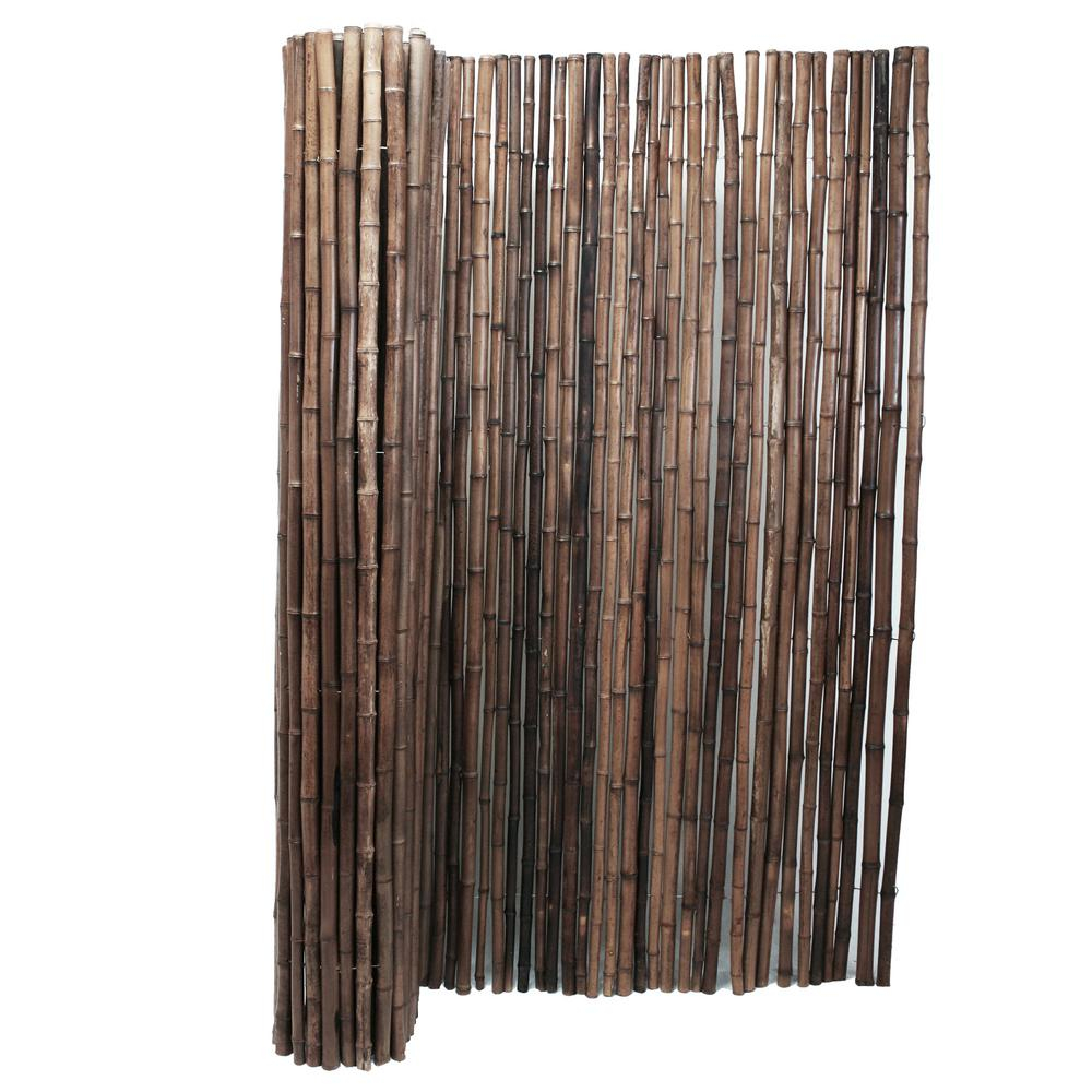 Backyard X Scapes 1 In D X 4 Ft H X 8 Ft W Carbonized Rolled Bamboo Garden Fence intended for Backyard XScapes Reed Fencing