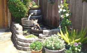 Barrel Ideas Dave Julis Wine Barrel Fountain Bamboo Arts And throughout Backyard Water Features Ideas