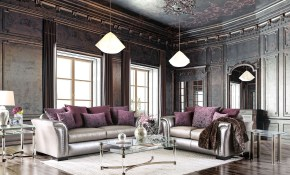 Benigno Pewter And Purple Living Room Set in Purple Living Room Set
