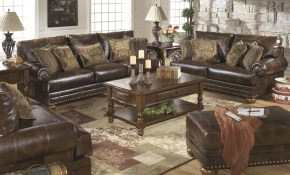 Brown Leather Durablend Antique 4pc Sofa Living Room Package Ashley Furniture within Cheap Leather Living Room Sets