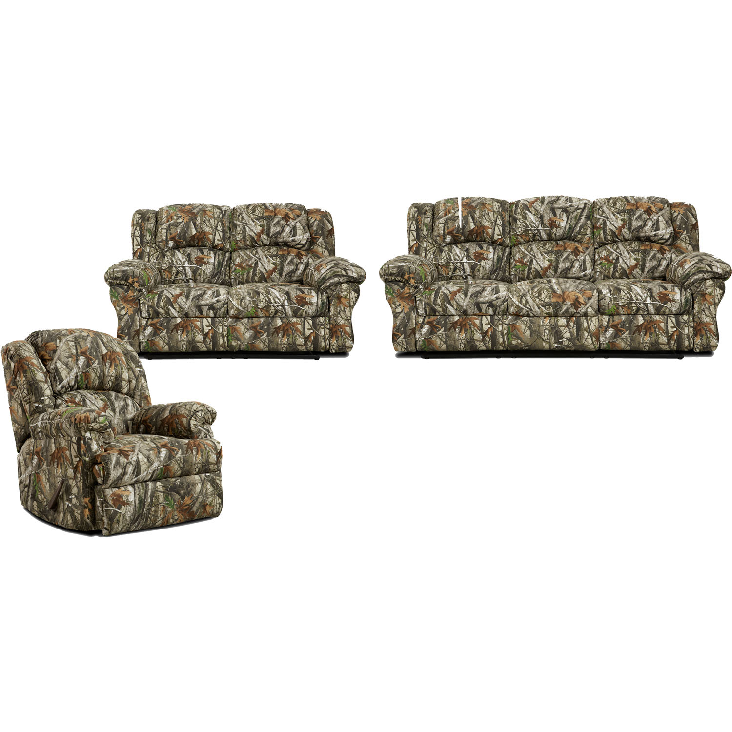 Cambridge Camo 3 Piece Living Set Sofa Loveseat Recliner with Camouflage Living Room Sets