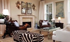 Elegant Den With Zebra Print Ottomans Living Room Living Room in Zebra Living Room Set