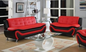 Frady 2 Pc Black And Red Faux Leather Modern Living Room Sofa And Loveseat Set in 11 Genius Initiatives of How to Improve Red Living Room Sets