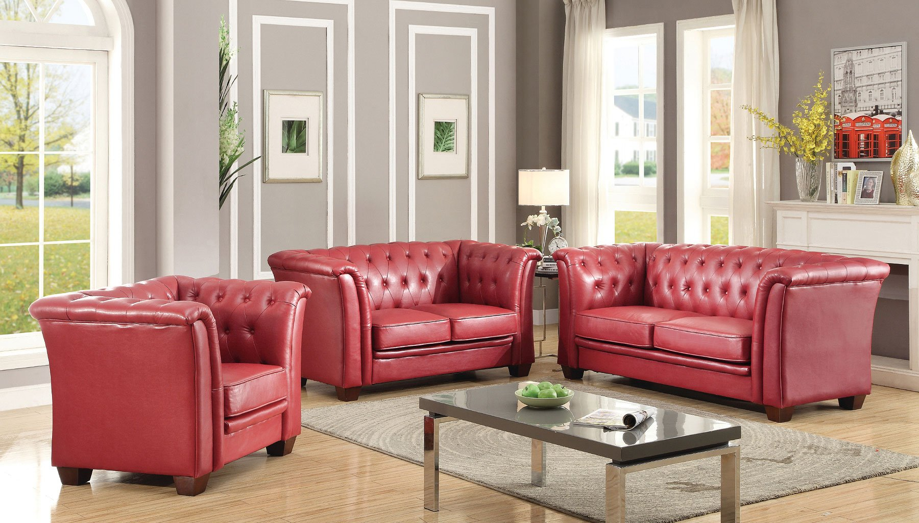 G329 Tufted Living Room Set Red pertaining to 11 Genius Initiatives of How to Improve Red Living Room Sets