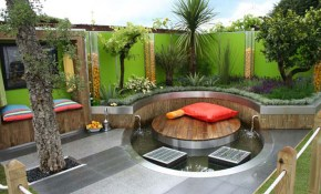 Gorgeous Small Modern Backyard Idea With Round Deck And Window in Contemporary Backyard Ideas