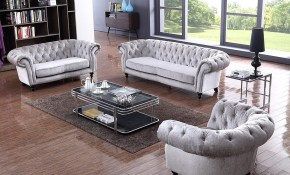Henderson Exquisite Light Grey Fabric 3 Piece Living Room Set with regard to Fabric Living Room Sets