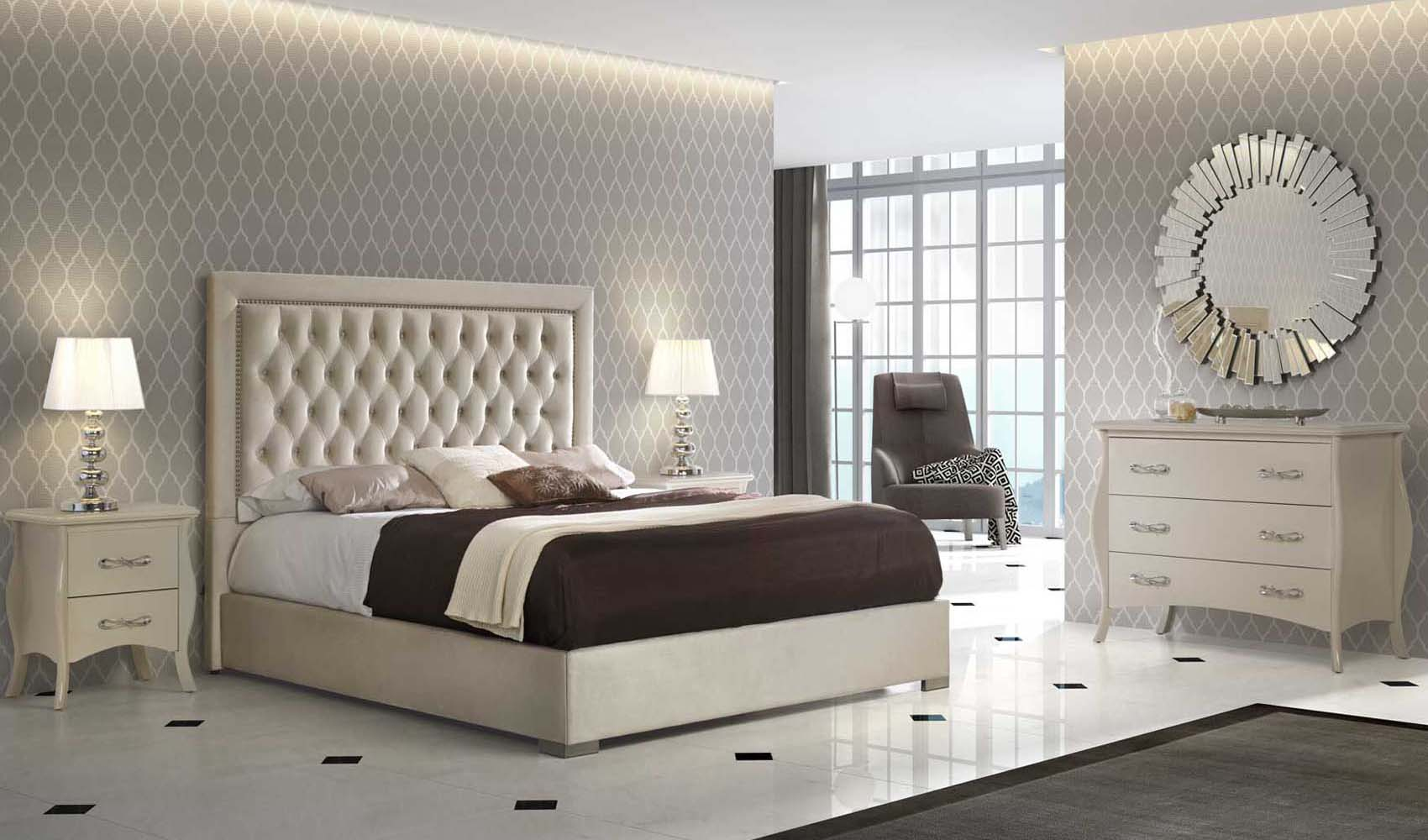 High End Modern Design Cream Bedroom Set with regard to Modern Bedroom Collection