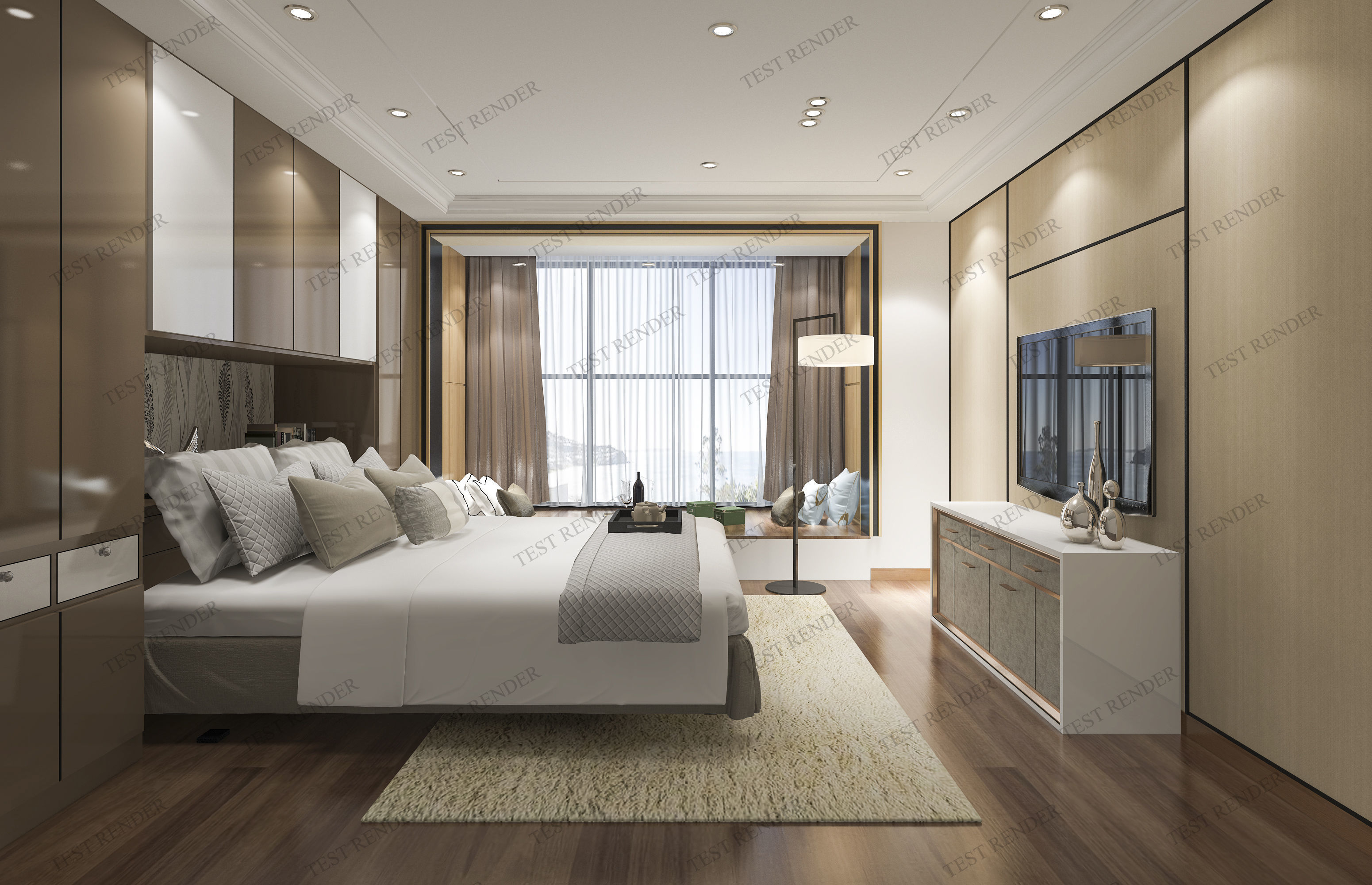 Luxury Modern Bedroom Suite In Hotel With Chinese Style 3d Model pertaining to Luxury Modern Bedroom