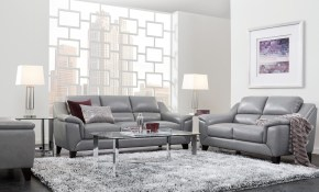 Marielle Gray Leather 3 Pc Living Rooms To Go All Things Home inside Room To Go Living Room Set