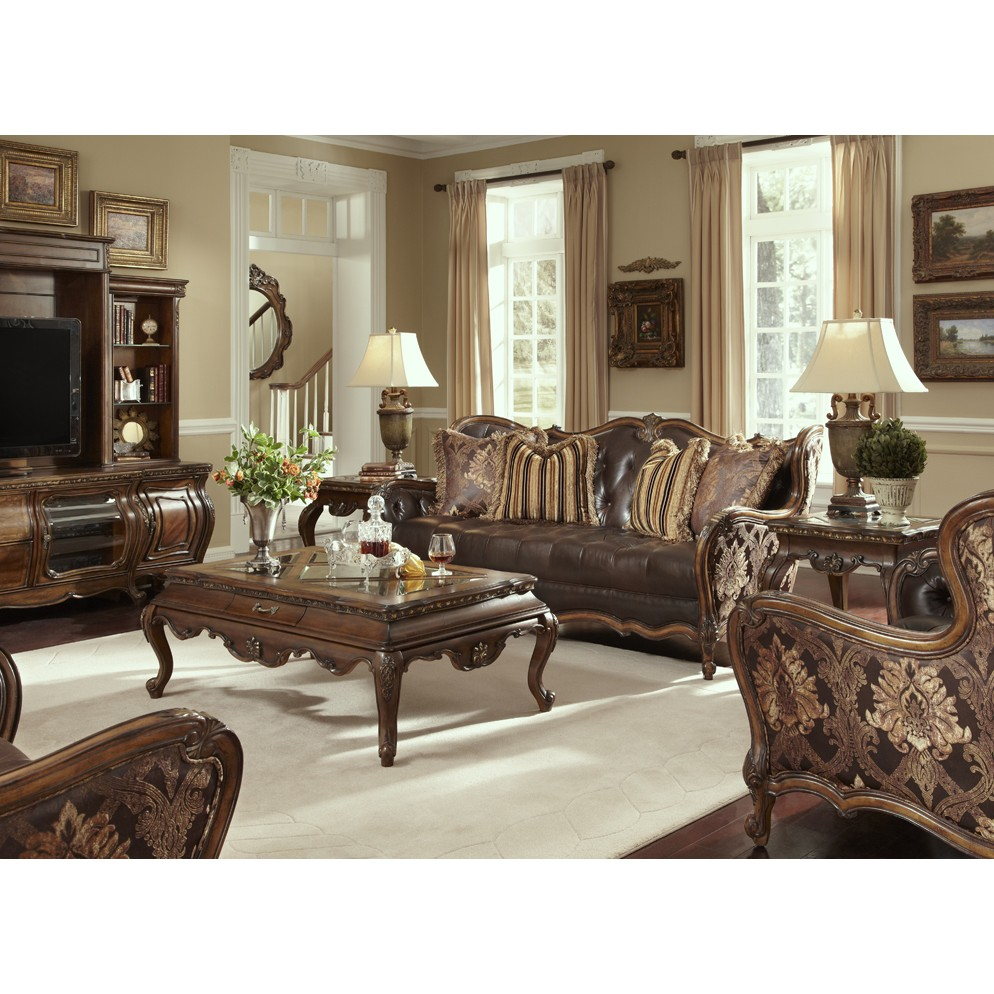 Michael Amini Lavelle Melange Leather Fabric 4pc Living Room Set Aico within Fabric Living Room Sets