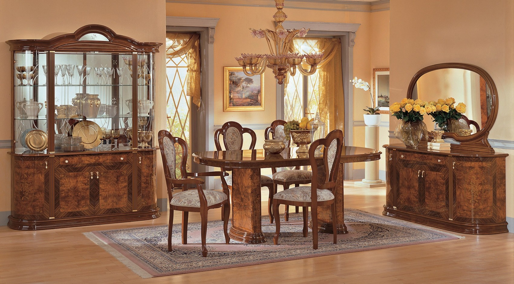 Milady Italian Dining Room Set In Brown Lacquer Finish in 10 Genius Tricks of How to Build Italian Living Room Set