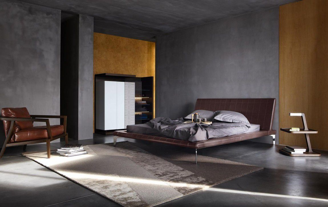 Minimalist Masculine Bedroom With Grey Walls And Modern Furniture In with regard to 10 Genius Ideas How to Make Modern Masculine Bedroom