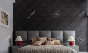 Modern Bedroom With Double Bed Black Wallpaper And Balcony throughout 12 Smart Concepts of How to Upgrade Modern Wallpaper Bedroom