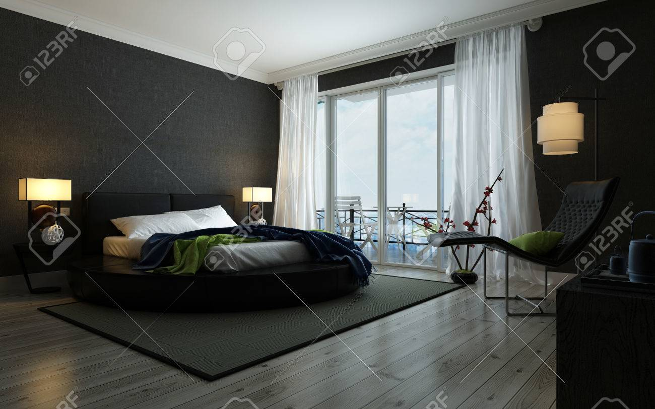 Modern Black And White Bedroom Interior Illuminated Lamps inside 13 Smart Initiatives of How to Build Modern Black Bedroom