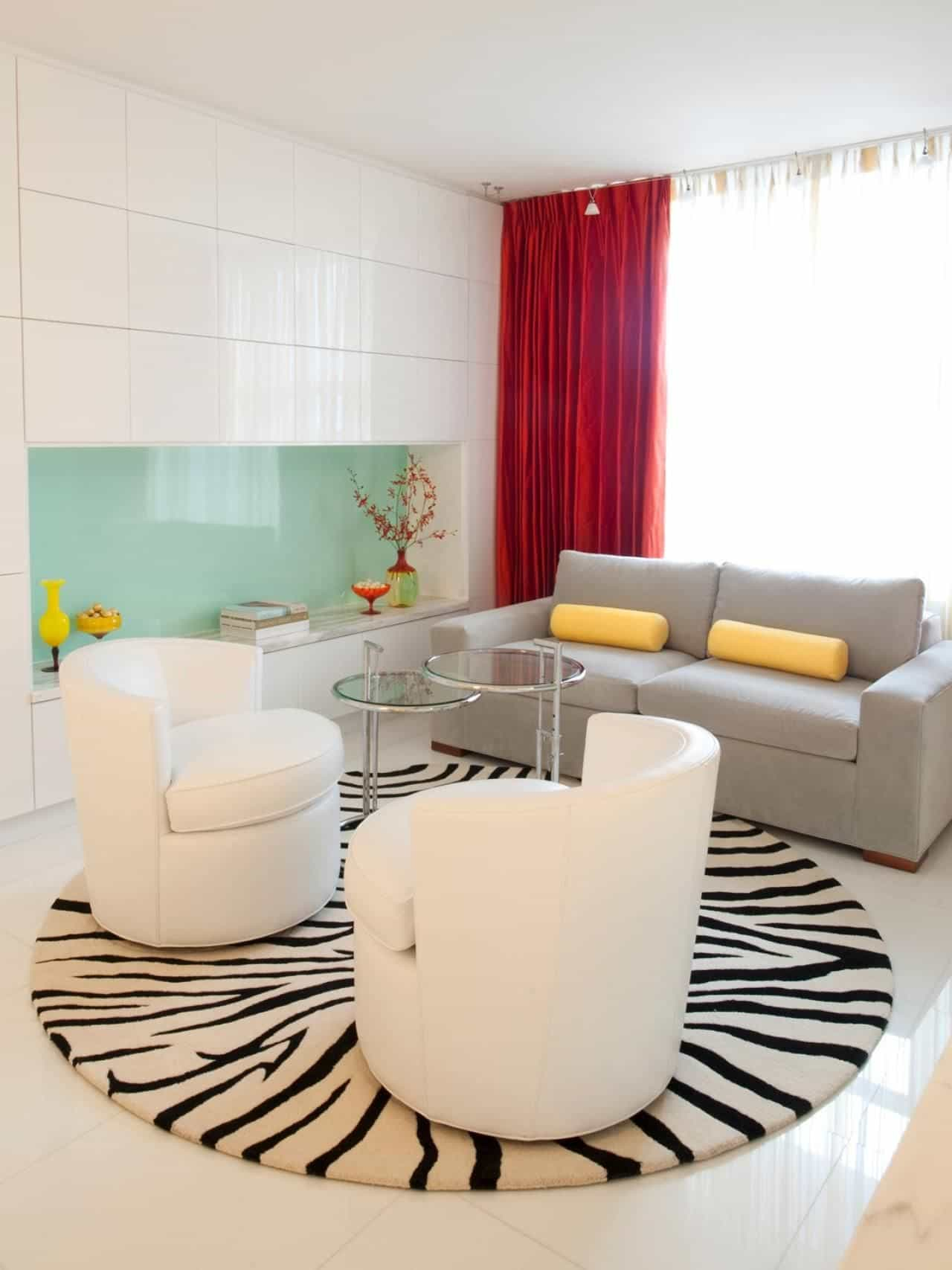 Modern Living Room With Zebra Round Area Rug And Modern Furniture with 12 Clever Initiatives of How to Improve Zebra Living Room Set