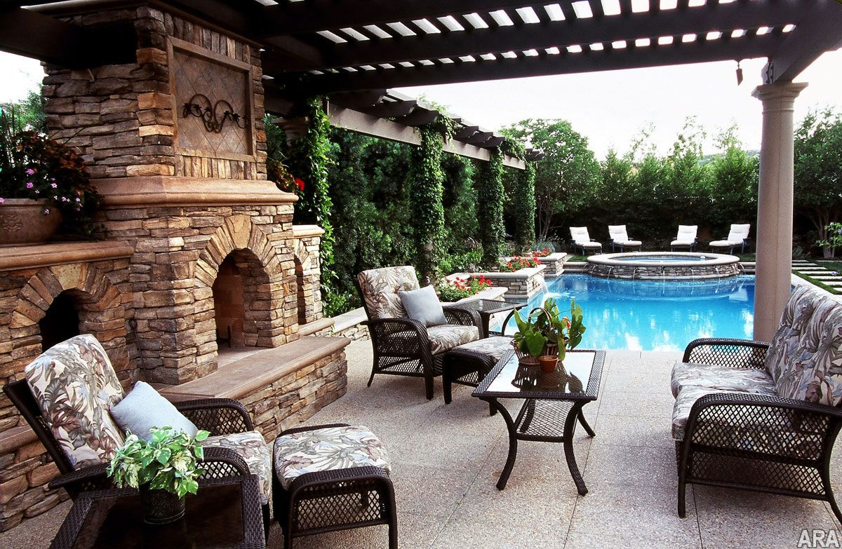 Pool And Outdoor Fireplace Perfect For Entertaining Backyard with Patio Ideas For Backyard