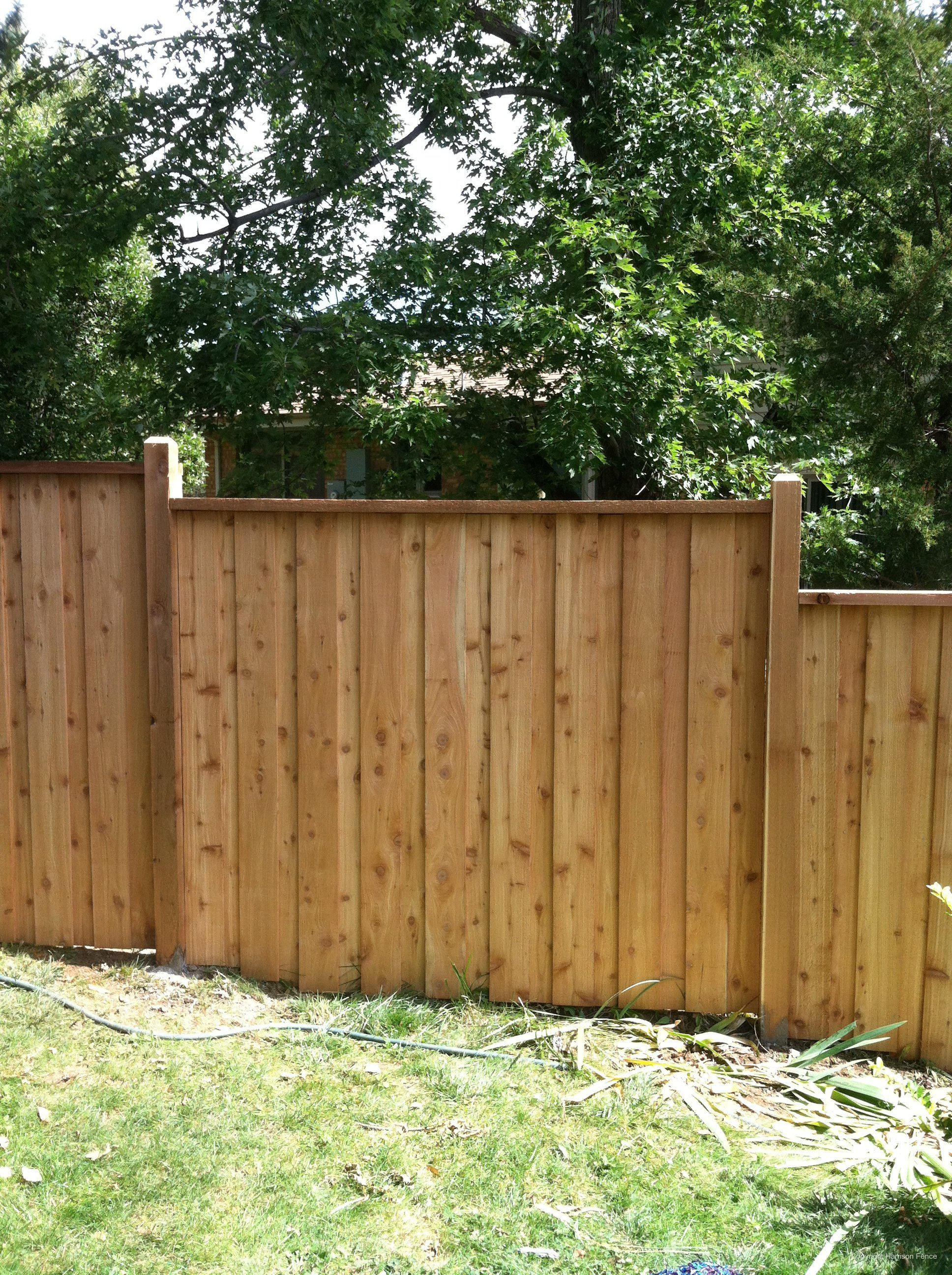 Simple Staggered Panels To Accommodate Slope Capped Top Backyard in Backyard Fence