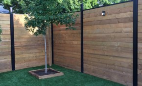 Slipfence 3 In X 3 In X 8 Ft Black Powder Coated Aluminum Fence Post Includes Post Cap in 11 Clever Initiatives of How to Improve Backyard Metal Fence