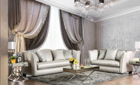 Sm2288 Alessandra Living Room Set Silver Silky Fabric inside Fabric Living Room Sets