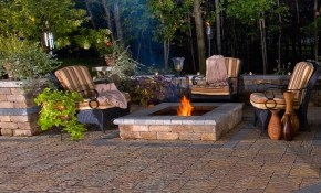 Backyard Living Space With Firepit Patio And Decorative Wall for Backyard Lounge Ideas