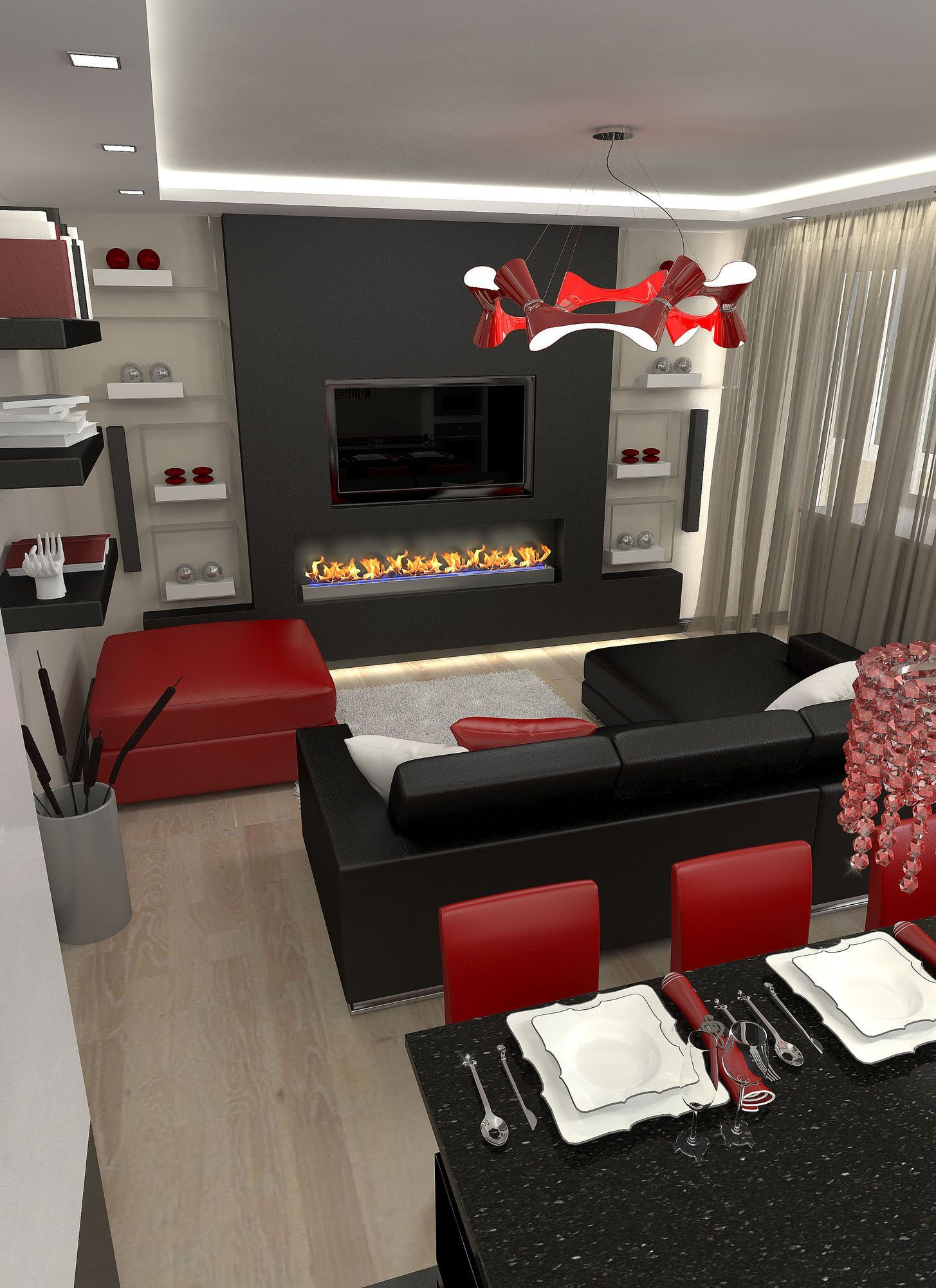 11 Genius Designs Of How To Craft Red And Black Living Room in 14 Smart Designs of How to Build Red And Black Living Room Set