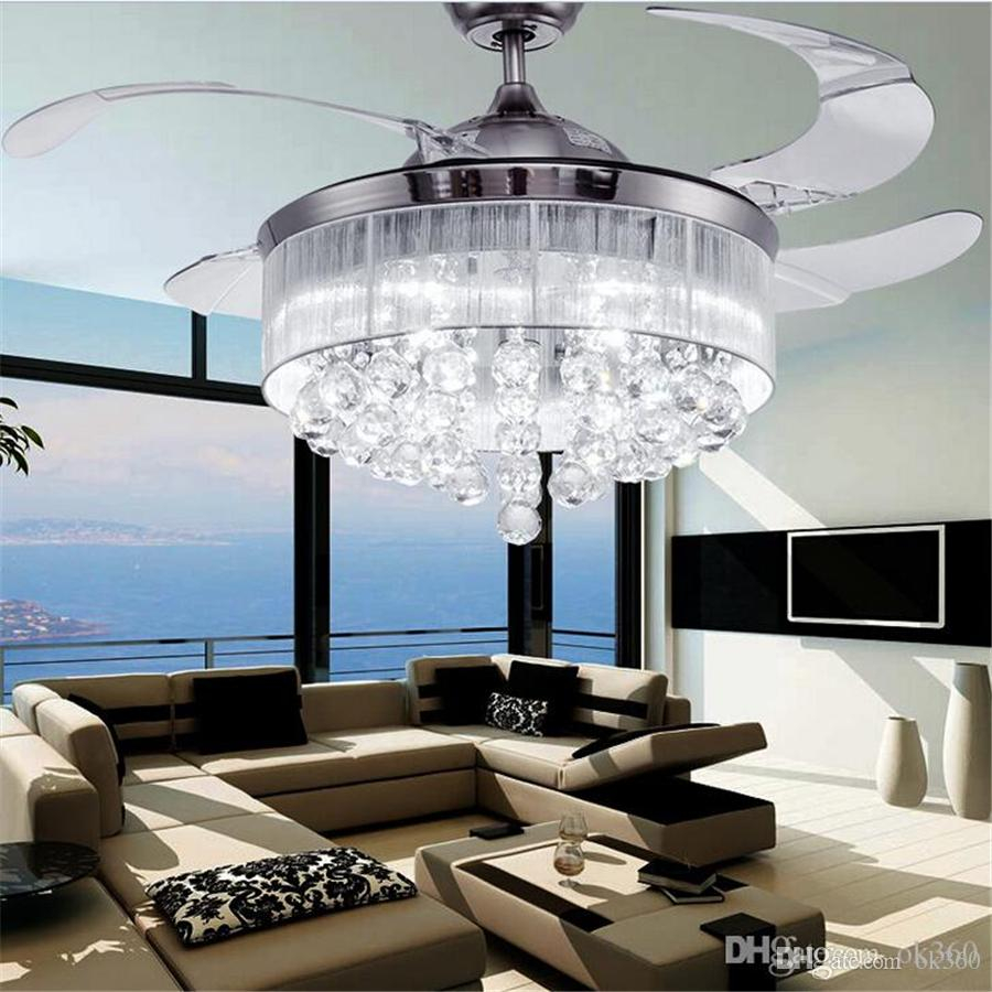 2019 Led Ceiling Fans Light Ac 110v 220v Invisible Blades Ceiling Fans Modern Fan Lamp Living Room Bedroom Chandeliers Ceiling Light Pendant Lamp From within 10 Clever Concepts of How to Build Modern Bedroom Ceiling Fans