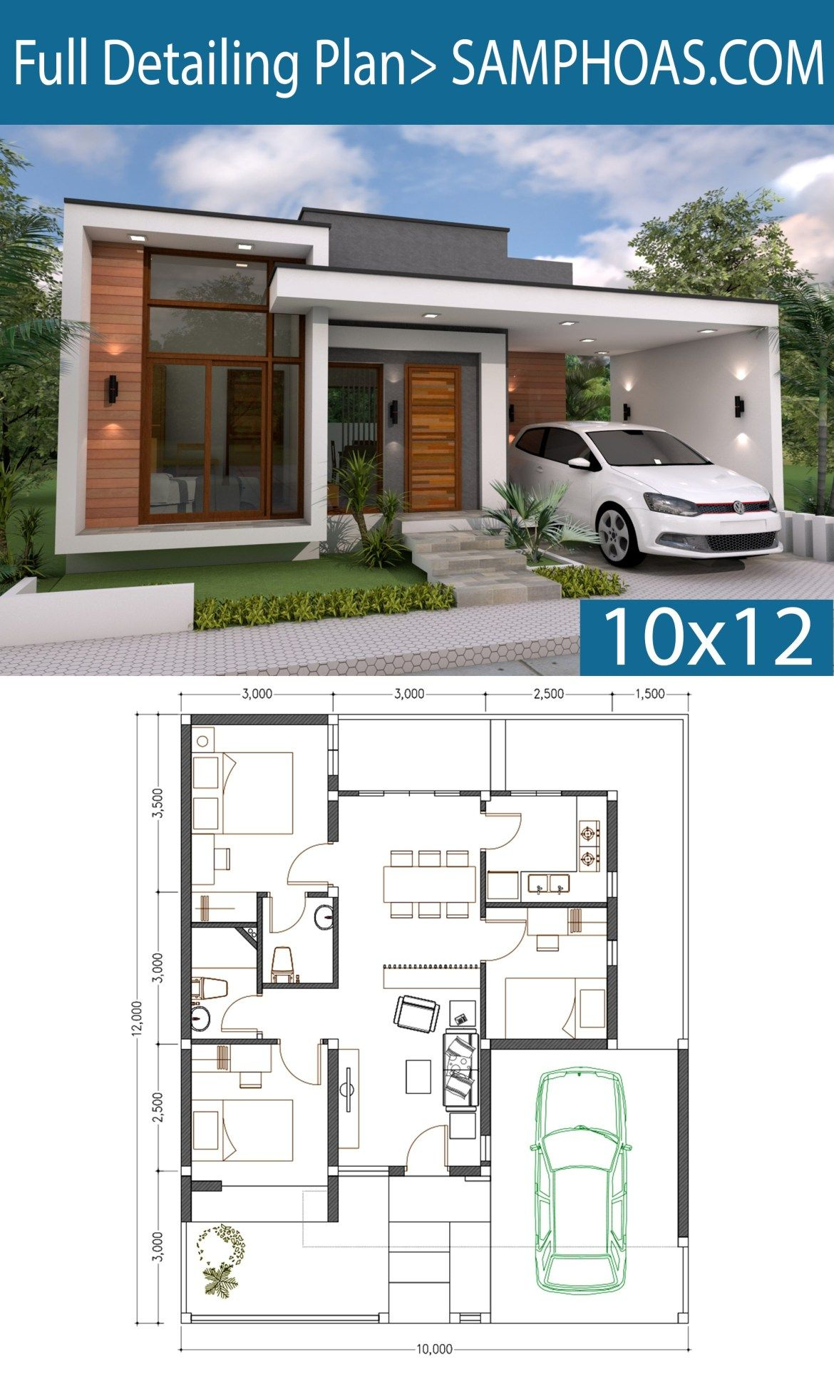 3 Bedrooms Home Design Plan 10x12m House Plans Home inside 11 Smart Concepts of How to Upgrade Modern 3 Bedroom House Plans