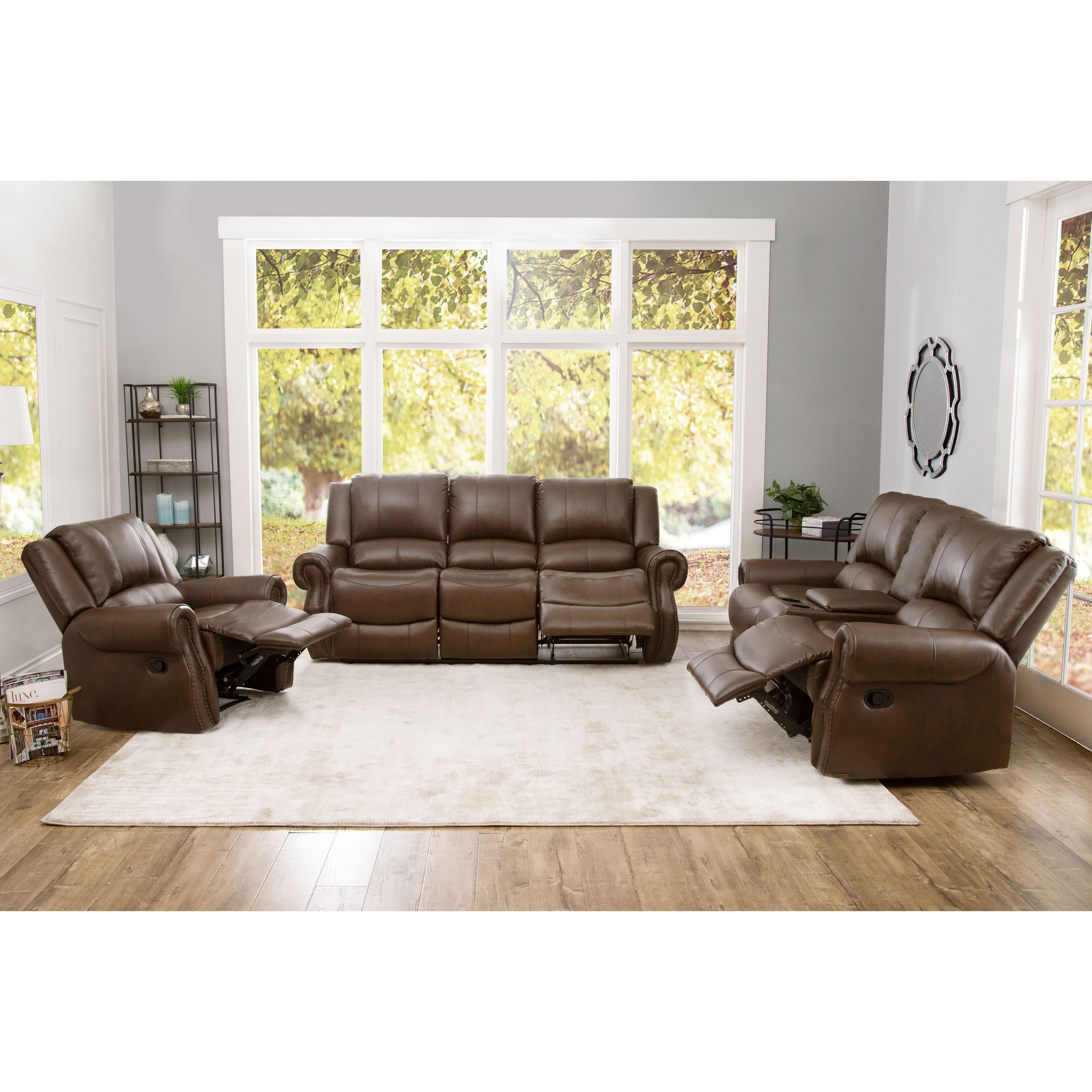 Abson Calabasas Mesa Brown Leather 3 Piece Reclining Living Room Set regarding 12 Awesome Concepts of How to Improve Living Room Set 3 Piece